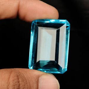 Swiss Blue Topaz 95 carat Emerald Cut Faceted Lab Created Loose Gemstone BS-439