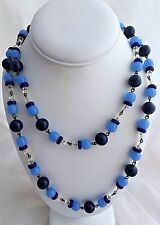 "Antique Powder&Cobalt Blue With Crystal Bead on Wire 40"" Opera Length Necklace."