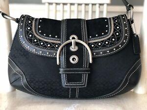 COACH Soho Black Medium Signature Jacquard Suede Leather Studded F11517 $328 EUC