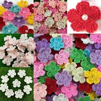 Crochet Flowers Daisies Summer Handmade Applique Embellishments Craft 5 Petal