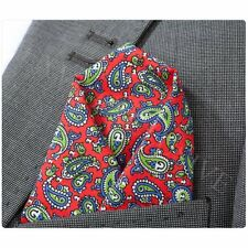 Mens Premium Red Blue Green Paisley Cotton Pocket Square Hanky