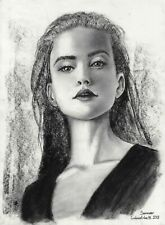 original drawing 29,5 x 40,5 cm 181GM art Charcoal landscape female portrait