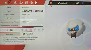 Shiny Whimsicott 6IV Max EVs Competitive Pokemon Sword Shield Timid Focus Sash