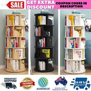 360 Degree Rotating Five 5 Tier Display Shelf Bookcase Organiser Three Colours