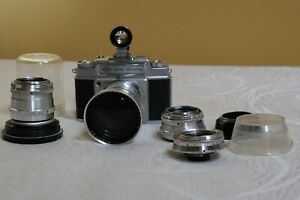 AGFA Ambi Silette SET Camera body WORKING + 4 lenses 130mm/f4 + finder Exc++