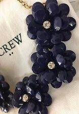 2017 NWT J.Crew Factory Crystal Floral Burst Statement Necklace Navy Blue Pouch