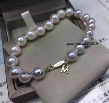 "7.5-8"" Charming AAA+ 7-8mm natural Japanese Akoya white round pearl bracelet 18k"