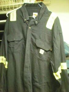 Carhartt FR XL-RG FR Navy Blue Long Sleeve Safety Shirt Very Good Condition