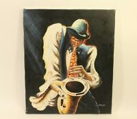 Original Oil on Canvas Painting M. Harold. Jazz Saxophone African-American Art