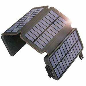 SOARAISE Solar Charger 25000mAh Power Bank with 4 Solar Panels Waterproof