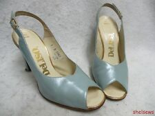 DeLiso Seafoam Green Leather Slingback Pumps Open Toe 6B(M) Excellent Vtg Cond