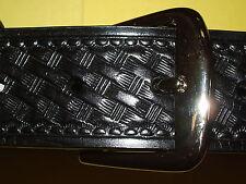 Basketweave Uniform Belt Black Mens Size 32-72 Leather New