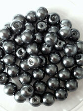 8mm Glass faux Pearls - Charcoal Grey (50 beads) jewellery making