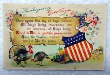 GERMAN THANKSGIVING POSTCARD AMERICAN FLAG TOM TURKEY FLOWERS #E4