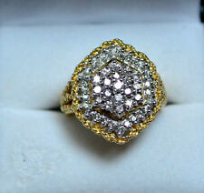 14k 2 TCW Yellow Gold Twisted Rope Round Diamond Cluster Cocktail Ring, size 8!