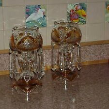 """Moser design Bohemian Czech Amber Cut to Clear Flower Glass Mantle Lusters 11"""""""