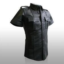 Homme chaud véritable noir mouton/agneau cuir police uniform shirt bluf gay