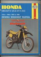 Honda MBX MTX 125 200 RW (1983-1988) Haynes Work Shop Repair Manual Book MBX125F