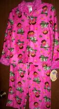 DORA The Explorer Fleece Pajamas Girls 7/8 NeW Button Shirt Pants Winter Pjs NWT