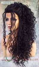 LACE FRONT LONG CURLY OMBRE STYLE WIG COLOR #1 GORGEOUS SEXY STYLE US SELL 1111