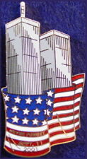 NEVER FORGET 9/11/01 Twin Towers with USA Flag WTC PIN #2 911 Tribute Memorial