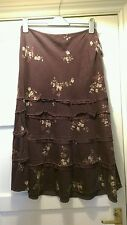 monsoon long teired  purple floral corduroy skirt 12