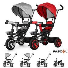 FASCOL 4in1 Dreirad Kinderdreirad Lenkstange Dach Fahrrad Kinderwagen Babywagen