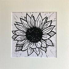 SUNFLOWER  - LINO PRINT - SIGNED ART ORIGINAL - BLACK & WHITE
