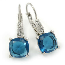 Pear Cut Cobalt Blue CZ/ Clear Crystal Drop Earrings In Rhodium Plating With Lev