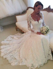 New Vestido De Novia New Lace White Ivory Wedding Dress Chapel Train Bridal Gown