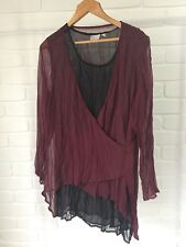 TS Taking Shape Burgundy & Black Crinkle Chiffon Evening Occasion Top Size 14