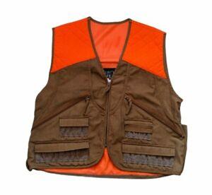 Mount'n Prairie Upland Bird Hunting Vest Blaze Orange & Brown Size Large EUC!