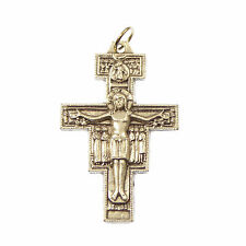 Silver metal rosary San Damiano crucifix cross pendant St Francis Assisi 5cm