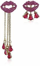 NEW BETSEY JOHNSON GOLD TONE,PINK,RED CRYSTAL LIPS,DARK SHADOW MISMATCH EARRINGS