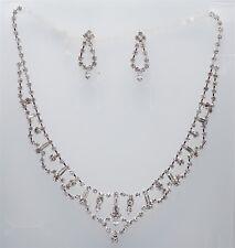 Necklace & Earrings Rhinestone Crystal Set Bridal Wedding Party 1793