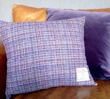 "Harris Tweed Cushion Cover Pale Pink Purple Slate Grey Vintage 18"" Rectangle"