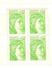 FRANCE VARIETE TYPE SABINE BLOC DE 4 YVERT N° 1977b SANS PHOSPHORE COTE € 80