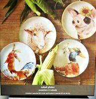 "4-pc Pier 1 Farm Animals Salad Dessert Plates 9"" NEW in gift box LAST SET"