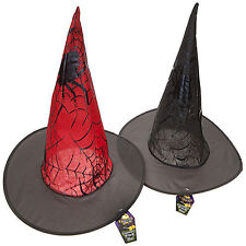 HALLOWEEN - KIDS ASSORTED DELUXE WEB DESIGN WITCH HAT IN 2 COLORS