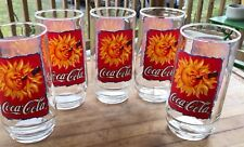 Coca Cola Drinking Glass Set Of 5 1995 Large Pop Beer 90s Vintage Advertising
