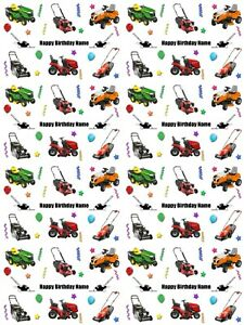 Lawn Mowers Personalised Birthday Gift Wrapping Paper ADD NAME CHOOSE BACKGROUND
