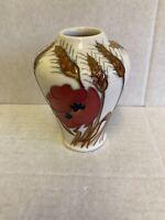 "Moorcroft ""Harvest Poppy"" Vase 576/4 Emma Bossons RRP £152 Christmas Gift 🎁🎁"