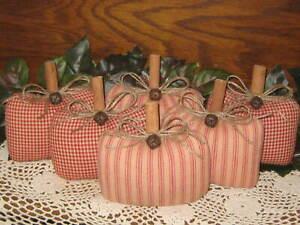 Fall Decor 6 Homespun Fabric Pumpkins Bowl Fillers Country Autumn Home