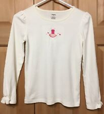 Gymboree Ballerina Size 12 Long Sleeve Off-White Shirt Pink Ballet Tutu Hearts