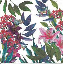 Lot de 3 Serviettes en papier Cocktail Fleurs des Tropiques Papillons Decoupage