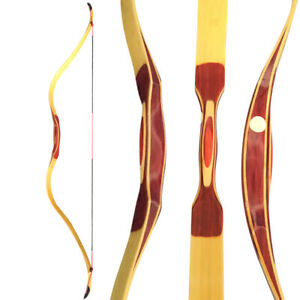 15-50lbs Traditional Recurve Bow Longbow Wooden Handmade Archery Hunting Target