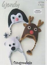 Wendy 5709 Animal Hats Original CROCHET PATTERN-PINGOUIN/RENNES/ours polaire
