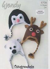 Wendy 5709 Animale Cappelli ORIGINALE Crochet Pattern-pinguino/renna/ORSO POLARE