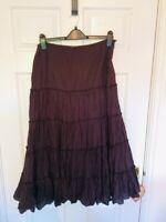Per Una Size 12R Cotton Crinkle Lined Full Tiered Skirt L c33 Ins Boho Gothic