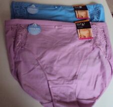 2 Bali Cooling Cotton Lace Desire Briefs Size 7 Blue & Pink Style DFCD62